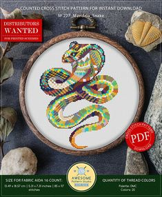 This is modern cross-stitch pattern of Mandala Snake for instant download. You will get 7-pages PDF file, which includes: - main picture for your reference; - colorful scheme for cross-stitch; - list of DMC thread colors (instruction and key section); - list of calculated thread