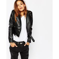 Missguided Faux Leather Biker Jacket (1586355 BYR) ❤ liked on Polyvore featuring outerwear, jackets, black, black moto jacket, black cropped jacket, motorcycle jacket, biker jacket and cropped jacket