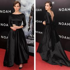 Emma Watson in a black duchess satin Oscar de la Renta gown with a velvet bow, gorge! Emma Watson Style, Emma Watson Gown, Emma Watson Red Carpet, Vestidos Emma Watson, Evening Dresses, Prom Dresses, Bridesmaid Dress, Wedding Dress, Goth Glam