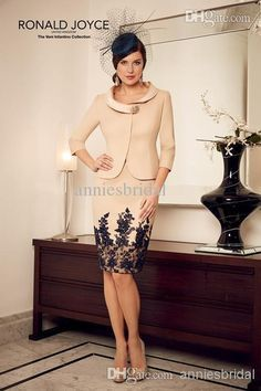 Wholesale Mother of the Dresses - Buy Spaghetti Scoop 2014 Satin Sheath Mother of the Bride Dresses Crew Lace Applique Knee Length With Jacket Evening Party Dress No.3090, $99.52 | DHgate.com