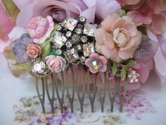Roses and Lilacsvintage assemblage flowers and by originalnoell, $38.00