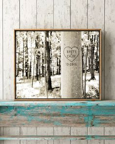So romantic!  Personalized carved tree print or canvas art for your home.