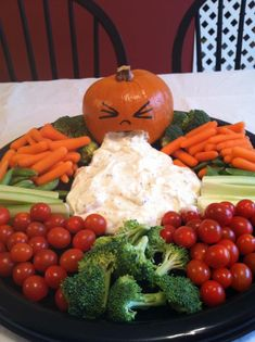 I made this for a Mary Kay party...pumpkin is about f5 inches round..only cut out mouth...drew on eyes and nose with marker...dip is just vegi dip... EVERYONE LOVED IT!