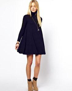 Autumn Winter Solid Turtleneck Long Sleeve Black Dress Swing Sweater Casual Women Pregnant Dresses
