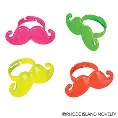 Neon Mustache Rings