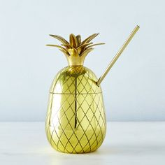Large Brass Pineapple Tumbler with Straw Pineapple Tumbler, Pineapple Top, Pineapple Punch, Raspberry Cocktail, Raspberry Syrup, Basil Cocktail, Bar Cart Essentials, Crispy Eggplant, Cocktail Book