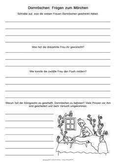 """kostenloses Arbeitsblatt zum Thema """"Märchen"""" (Dornröschen) für die Grundschule (aus der Märchenwerkstatt des Grundschulateliers)"""
