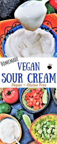 A dairy free, nut free, and gluten free vegan sour cream made with just 5 simple ingredients at home. Use silken tofu to whip up a creamy delicious batch of healthy vegan sour cream to top your tacos, burritos, soups and to use in dips. thehiddenveggies.com #vegansourcream #dairyfreesourcream #homemadesourcream #tofusourcream #vegantacotopping #nutfreevegansourcream