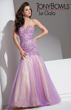 Wedding Dresses, Bridesmaid Dresses, Prom Dresses and Bridal Dresses Tony Bowls Le Gala - Style 115528 - Tony Bowls Le Gala, Spring Sequin Embroidery and Tulle evening gown with mermaid silhouette. Lilac Prom Dresses, Best Prom Dresses, Pretty Dresses, Bridal Dresses, Strapless Dress Formal, Bridesmaid Dresses, Formal Dresses, Tony Bowls, Pageant