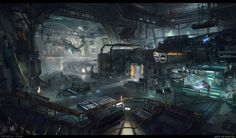 Star Citizen - Chop Shop Environment, Marcel van Vuuren on ArtStation at https://www.artstation.com/artwork/m5L01
