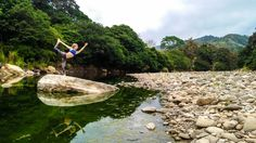 Anne in #dancerspose. #yoga by the river in costa rica.