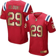 e61fe78d9 Men s New England Patriots LeGarrette Blount Red With Gold Stitched NFL  Nike Elite Jersey