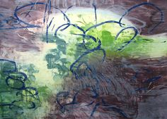 Pond Edge IV - Mary Ryan Gallery Future City, Chinese Painting, Abstract Landscape, Abstract Expressionism, Impressionism, Printmaking, Pond, Aquarium, Mary