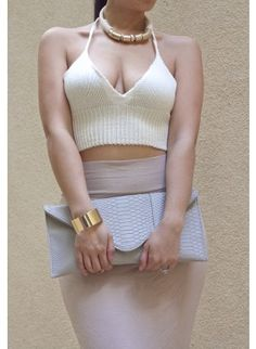 IVORY Triangle Halter Short Top High Street Brands, Triangle Top, Short Tops, Fashion Lookbook, Crochet Top, Fashion Dresses, Two Piece Skirt Set, Bodycon Dress, Ivory