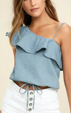 JOA Celebrate Blue Chambray Polka Dot One Shoulder Top via Best Casual Outfits, Trendy Summer Outfits, Summer Clothes, Beautiful Blouses, Beautiful Outfits, Look Fashion, Fashion Outfits, One Shoulder Tops, Look Chic