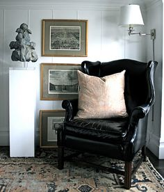 black and white. leather chair. architectural fragment. grant k. gibson.