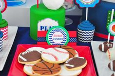 Cookies at a sports birthday party! See more party ideas at CatchMyParty.com!