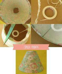 Como cobrir a cúpula do abajur com tecido – De cara nova!