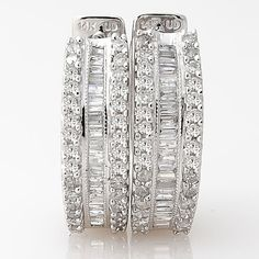 .80Ct ROUND BAGUETTE CUT REAL DIAMOND HUGGIE HOOP HINGED EARRINGS 14K WHITE GOLD