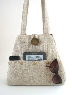 multi pocket beige bag adjustable as tote bag or hobo by daphnenen, $95.00