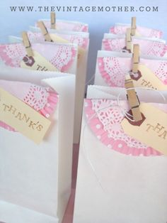 I love these adorable pink and white party favor bags. These vintage-style baggies would be perfect for a baby shower. Birthday Week, Tea Party Birthday, Girl Birthday, Party Favor Bags, Goodie Bags, Sweet 16 Parties, Baby Shower Parties, Party Gifts, Party Time