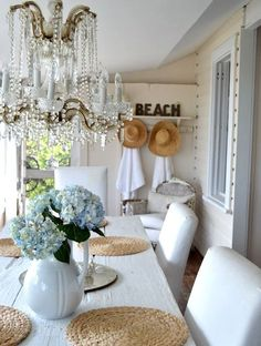 casual white cottage dining room area.