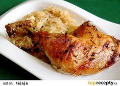Kuřecí čtvrtky na kysaném zelí recept - TopRecepty.cz Risotto, Cauliflower, Rice, Chicken, Vegetables, Ethnic Recipes, Food, Diet, Cooking