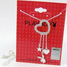 Playboy-Necklace-Swarovski-Crystal-Open-Heart-Pendant-Bunny-Logo-Star-Charms-NOS