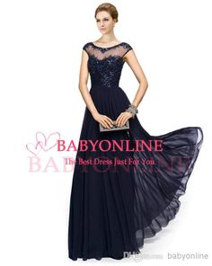 Wholesale Formal Dresses - Buy Vintage Chiffon Navy Blue Lace Crew Illusion Neck Prom Evening Gowns Appliques Beads Cap Sleeves Plus Size Mother of the Bride Dresses EB216, $101.72 | DHgate