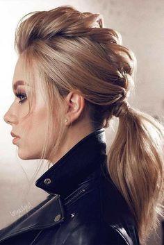 coiffure tendance femme queue de cheval basse tressée #hairstyles