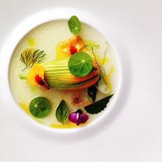 "Crab boudin ""en courgette"" with saffron water vinaigrette by @langdonhallchef #TheArtOfPlating"