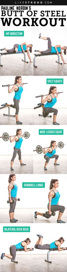 Need a booty boost? Pauline Nordin's Butt of Steel Workout to the rescue. Her workout will strengthen, lift and shape the glutes while tightening up the tie-in (i.e., the intersection of butt and thigh): http://www.livestrong.com/blog/pauline-nordins-butt-steel-workout