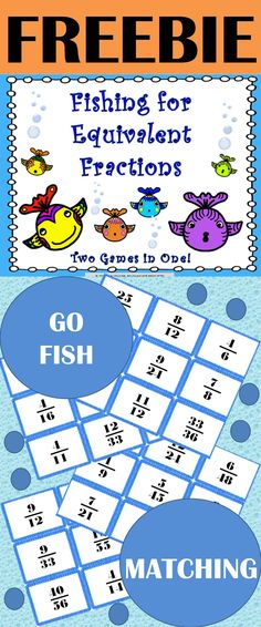 FREE Equivalent Fraction: Practice identifying equivalent fractions with these 2 games in 1! Play as a matching game or go fish. This game includes 36 pairs of equivalent fractions and an answer key so students can play independently. This game can be used as a whole class activity or in small groups.