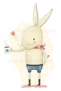 Illustration Cute Bunny And Starbucks Coffee Mug