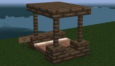 Fancy Bed Minecraft Creations, Minecraft Projects, Minecraft Crafts, Minecraft Stuff, Minecraft Mansion, Minecraft Cottage, Minecraft Buildings, Minecraft Bedding, Geek Stuff