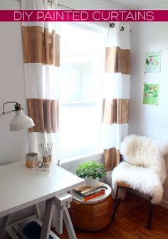 DIY Gold Striped Curtains by Tan of Squirrelly Minds | Project | Home Decor / Decorative | Kollabora