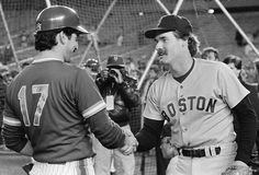 Two of the best pure hitters of the 80's hook up at Shea Stadium pre-game: Keith Hernandez and Wade Boggs. Circa October, 1986.