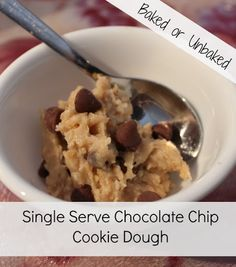 Single Serve Chocolate Chip Cookie Dough (Raw or Cooked) Recipe on Yummly