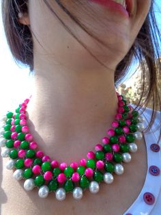 Items similar to Hot pink Statement Collar Necklace / Fashion jewelry / Statement Necklace / Summer necklace/ Neon necklace/ Beaded necklace/ Handmade collar on Etsy Summer Necklace, Seed Bead Necklace, Collar Necklace, Beaded Necklace, Fashion Jewelry Necklaces, Cute Jewelry, Handmade Necklaces, Maxi Collar, Tutorials