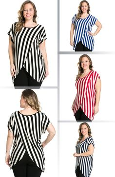 My Yuccie Women's Scoopneck Stripe Blouses Cross Tops with Overlay Hem in Plus Size. Overlay top eases into warmer days with vacacy-inspired stripes and a draping overlay hemline silhouette. Available via Amazon.