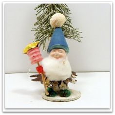 Vintage Christmas Pixie Elf Pine Cone Ornament Chenille Germany on Etsy, $15.00