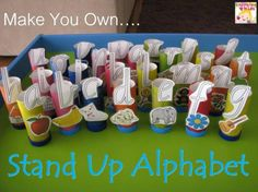Make your own Stand Up Alphabet! Great for learning the alphabet, creating CVC words, sight words, ordering and so much more. FREE printable