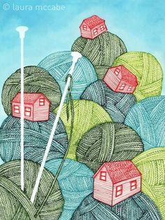 Yarn and knitting needle art print Knitting Humor, Crochet Humor, Knitting Projects, Knitting Patterns, Knitting Quotes, Love Crochet, Double Crochet, Knit Crochet, Guerilla Knitting