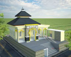 Two Story House Design, Mansion Designs, Beautiful Mosques, Two Story Homes, Islamic Architecture, Architect Design, Autocad, Marrakech, Gazebo