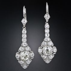 Edwardian Platinum Diamond Drop Earrings