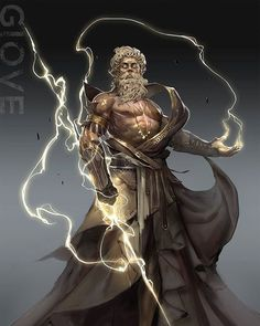 Another representation of Zeus done on the computer. The lightening bolts shows the power and the huge strength he has. Age of Pantheons Zeus Fantasy Character Design, Character Design Inspiration, Character Art, Mythological Characters, Fantasy Characters, Greek God Tattoo, Greek Mythology Art, Age Of Mythology, Mythology Tattoos