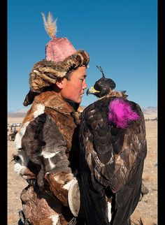 Kazakh eagle hunter and his golden eagle in the Altai Region of Bayan-Ölgii in Western Mongolia by jitenshaman, via Flickr
