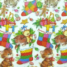 vintage wrapping paper | Vintage Christmas Kitten Cat Gift Wrap Wrapping Paper Christmas Paper