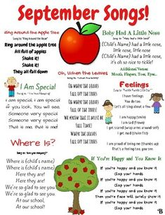 September songs and finger plays! This resource can be used for circle time in a daycare, preschool, Pre-K, or Kindergarten classroom. This is also a great resource to send home with children to sing the seasonal songs with their families.This song list compliments my Infant/Toddler Unit: All About ...