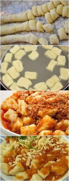 GENTE ESSA MASSA É MARAVILHOSA NHOQUE DE BATATA!! VEJA AQUI>>> Cozinhe as batatas, em água, até que estejam macias Descasque-as e passe pelo espremedor ainda quentes #receita#bolo#torta#doce#sobremesa#aniversario#pudim#mousse#pave#Cheesecake#chocolate#confeitaria#massadenhoque# No Salt Recipes, Pasta Recipes, Italian Recipes, Great Recipes, Cooking Recipes, Healthy Recipes, I Love Food, Good Food, Yummy Food